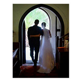 Just Married Couple Leaving Church Postcard