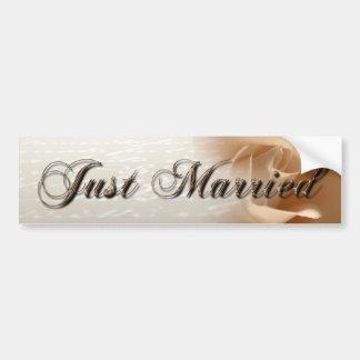 Just Married Cream Rose Bumper Sticker