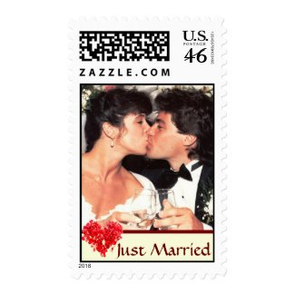 Just Married Custom Photo Postage Stamps