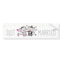Just married cute cartoon wedding cats bumper sticker