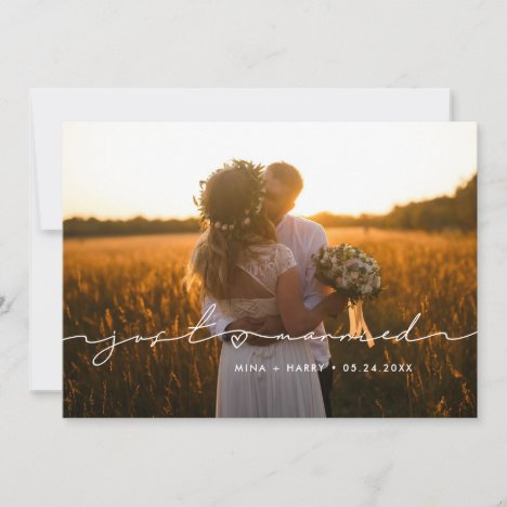 Just married Cute handwritten wedding photo card