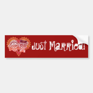 Just Married - Day of the Dead Bumper Sticker Car Bumper Sticker