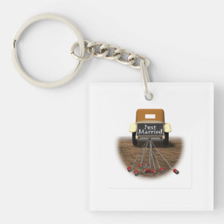 Just Married Double-Sided Square Acrylic Keychain