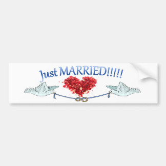 Just Married Doves Heart Wedding Rings Sticker