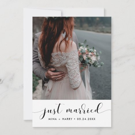 Just married Elegant announcement photo card