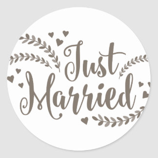 Just married elegant bronze floral hearts wedding classic round sticker