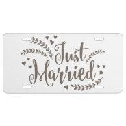Just Married Elegant Bronze Laurel Floral Wedding License Plate at Zazzle