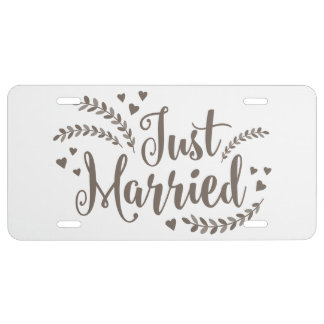 Just married elegant bronze laurel floral Wedding License Plate