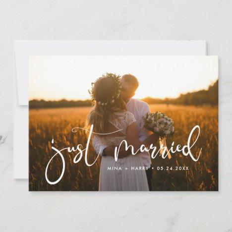 Just married Elegant romantic wedding photo card