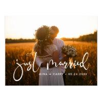 Just married Elegant romantic wedding photo Postcard