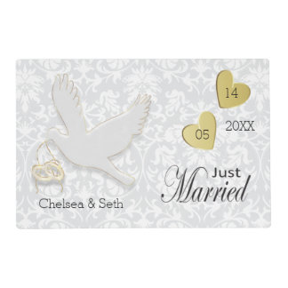 Just Married Elegant White Dove Placemat