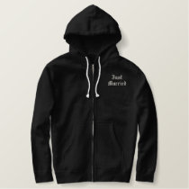 Just Married embroidered black hoodie