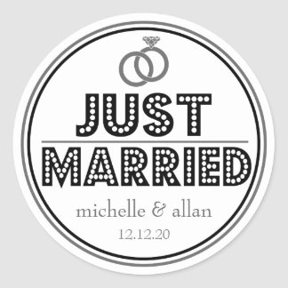 Just Married Favor Stickers (Black / Gray)