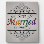 Just Married (Finally) Gay Pride Photo Plaques