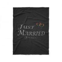 Just Married (Finally) Lesbian Pride Fleece Blanket