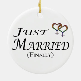Just Married (Finally) Lesbian Pride Double-Sided Ceramic Round Christmas Ornament