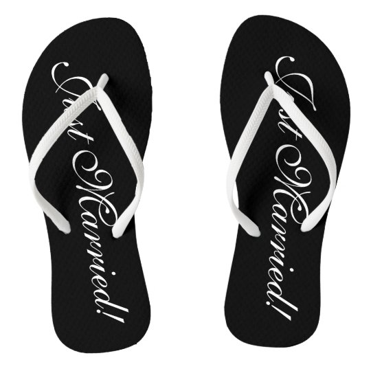 d0bc3f64c Just Married flip flops for bride and groom couple