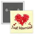 """""""Just Married"""" Floral Heart Button"""