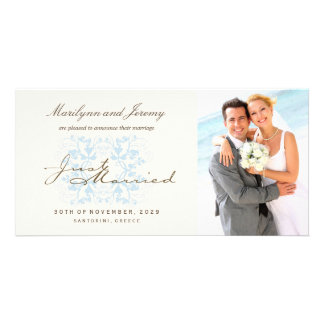 Just Married Flourish Wedding Photo Announcement