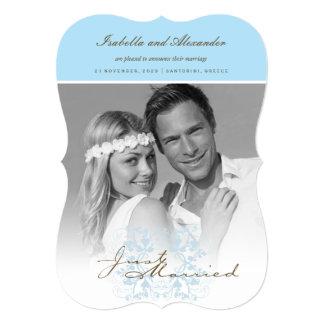 Just Married Flourish Wedding Photo Announcement