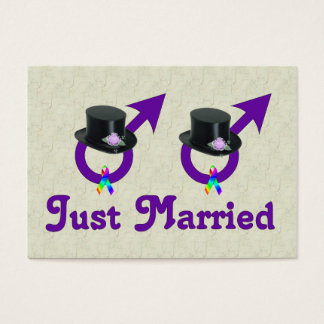 Just Married Formal Gay Male Business Card