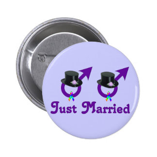 Just Married Formal Gay Male Pinback Button