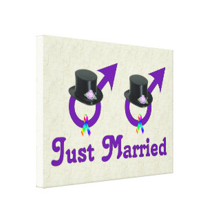 Just Married Formal Gay Male Canvas Print