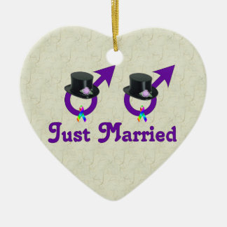 Just Married Formal Gay Male Ceramic Ornament