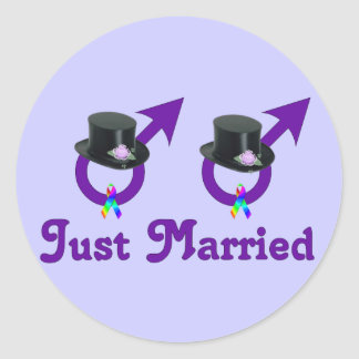 Just Married Formal Gay Male Classic Round Sticker