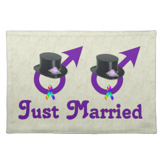 Just Married Formal Gay Male Cloth Place Mat