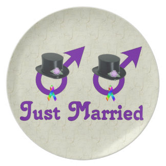 Just Married Formal Gay Male Dinner Plate