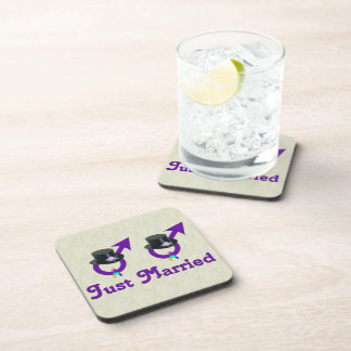 Just Married Formal Gay Male Drink Coaster