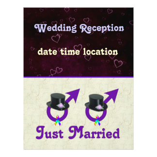 """Just Married Formal Gay Male 8.5"""" X 11"""" Flyer"""
