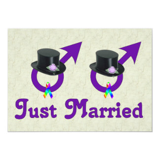 Just Married Formal Gay Male 5x7 Paper Invitation Card