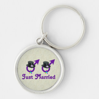Just Married Formal Gay Male Keychain