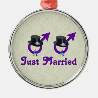 Just Married Formal Gay Male Metal Ornament