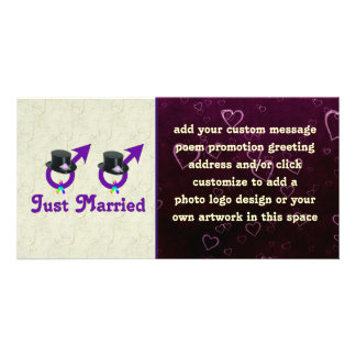 Just Married Formal Gay Male Photo Card