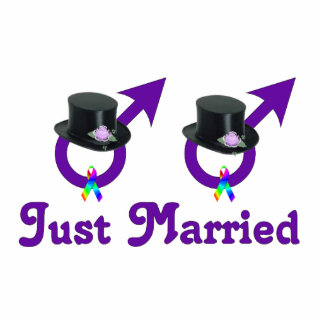 Just Married Formal Gay Male Standing Photo Sculpture