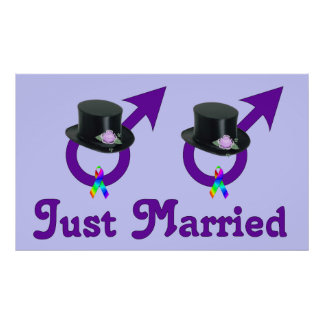 Just Married Formal Gay Male Poster