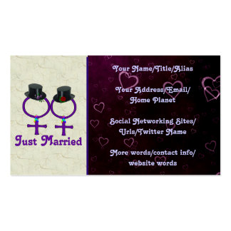 Just Married Formal Lesbian Business Card Template