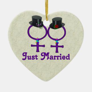 Just Married Formal Lesbian Ceramic Ornament