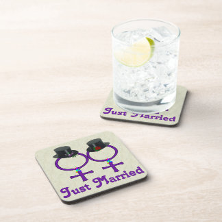 Just Married Formal Lesbian Coaster