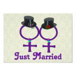 Just Married Formal Lesbian Custom Announcement
