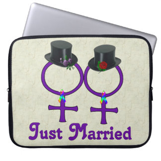 Just Married Formal Lesbian Computer Sleeves