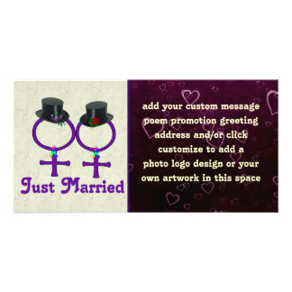Just Married Formal Lesbian Photo Card
