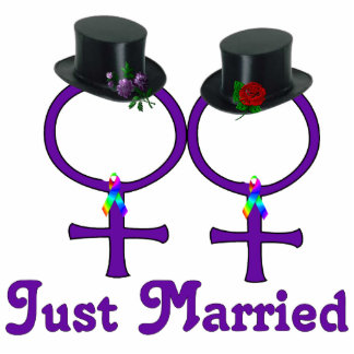 Just Married Formal Lesbian Standing Photo Sculpture