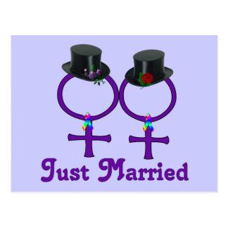 Just Married Formal Lesbian Postcard