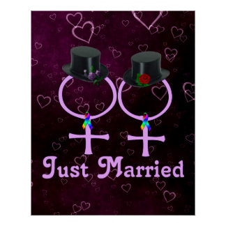 Just Married Formal Lesbian Poster