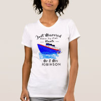 Just Married Funny Cruise Ship Nauti Graphic T-Shirt