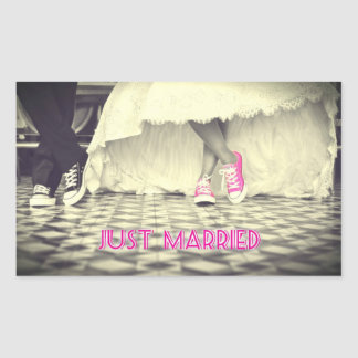 """""""Just Married"""" Funny Rectangle Stickers, Glossy Rectangular Sticker"""